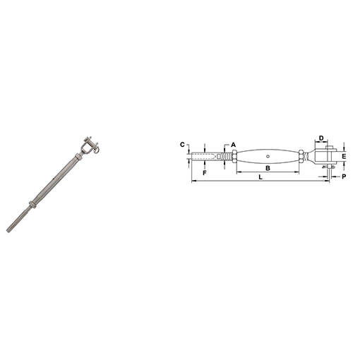 Cable Railing Turnbuckles With Jaw